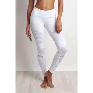 Alo Yoga white moto leggings